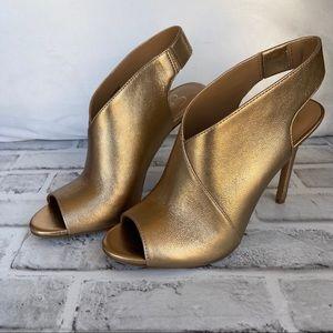 Jessica Simpson Gold Jourie Peep Toe Shooties 7.5